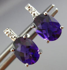 ESTATE 2.22CT DIAMOND & AAA EXTRA FACET AMETHYST 14K WHITE GOLD 3D STUD EARRINGS