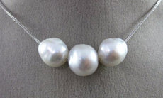ESTATE LARGE AAA SOUTH SEA PEARL 18K WHITE GOLD 3D PAST PRESENT FUTURE NECKLACE