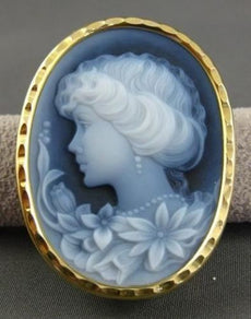 ESTATE LARGE 18KT YELLOW GOLD BLUE LADY CAMEO BROOCH & PENDANT UNIQUE!!! #20766