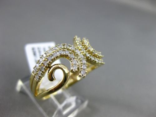 ESTATE WIDE .50CT DIAMOND 14KT YELLOW GOLD 3D MULTI ROW FLEUR DE LIS FUN RING