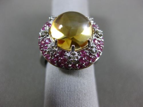8.38CT DIAMOND AAA PINK SAPPHIRE & CABOCHON CITRINE 14KT WHITE GOLD FLOWER RING