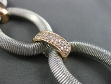 ESTATE WIDE .95CT DIAMOND 14KT WHITE & ROSE GOLD 3D MESH OVAL LINK BRACELET