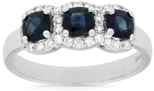 1.24CT DIAMOND & AAA SAPPHIRE 14KT WHITE GOLD 3 STONE PAST PRESENT FUTURE RING
