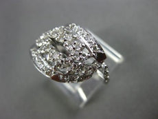 ANTIQUE WIDE .64CT ROUND OLD MINE DIAMOND 14KT WHITE GOLD OPEN FANCY RING #19541