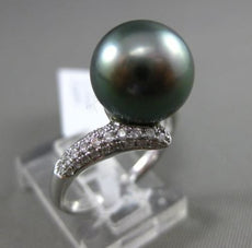 ESTATE LARGE .22CT DIAMOND 14KT WHITE GOLD TAHITIAN PEARL PAVE CRISS CROSS RING
