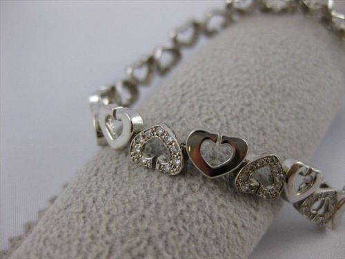"ANTIQUE 1.00CTW DIAMOND 14KT WHITE GOLD OPEN HEART BRACELET 7.50"" 7MM WIDE 17775"