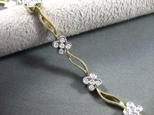 ANTIQUE 1.10CT DIAMOND 18KT WHITE & YELLOW GOLD DAISY FLOWER BRACELET !!! #1688