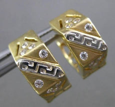 ESTATE 14KT TWO TONE GOLD HEXAGON ETOILE DOUBLE SIDED CZ HUGGIE EARRINGS #24343