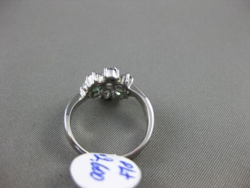 ANTIQUE WIDE 1.11CT DIAMOND & AAA ALEXANDRITE PLATINUM 3D FLOWER FLORAL FUN RING