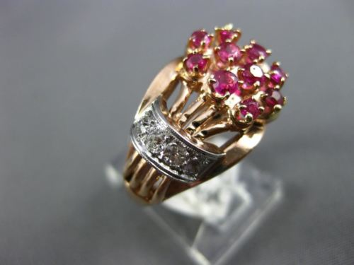 ANTIQUE WIDE .70CT OLD MINE DIAMOND & AAA RUBY 14KT ROSE & WHITE GOLD RING #757