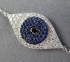 ESTATE .57CT DIAMOND & AAA SAPPHIRE 14KT WHITE GOLD EVIL EYE LUCKY BRACELET