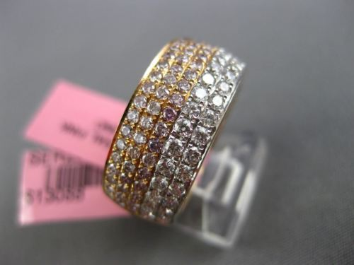 WIDE 1.31CT WHITE & PINK DIAMOND 18K WHITE & ROSE GOLD ETERNITY ANNIVERSARY RING