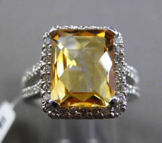 ESTATE 4.95CT DIAMOND & AAA EXTRA FACET YELLOW TOPAZ 14K WHITE GOLD 3D HALO RING