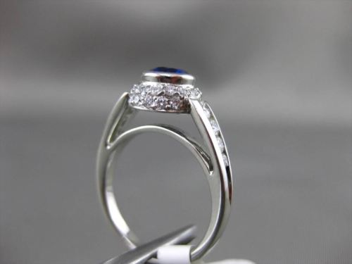 ANTIQUE 1.69CT DIAMOND & AAA SAPPHIRE PLATINUM DOUBLE HALO BEZEL ENGAGEMENT RING