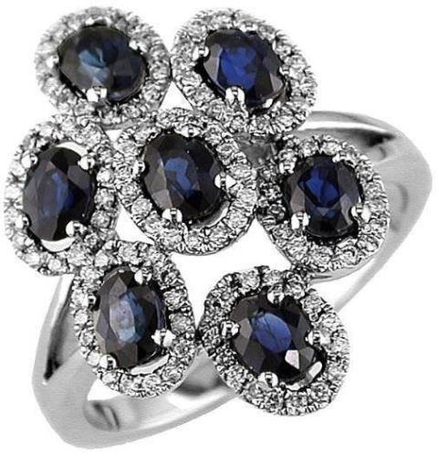 ESTATE LARGE 2.32CT ROUND DIAMOND & AAA SAPPHIRE 14KT WHITE GOLD FLOWER FUN RING
