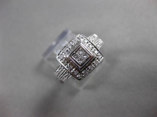 ESTATE WIDE .50CT DIAMOND 14K WHITE GOLD FILIGREE CLUSTER ENGAGEMENT RING #21529