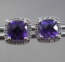 ESTATE 1.79CT DIAMOND & EXTRA FACET AMETHYST 14KT WHITE GOLD 3D SQUARE EARRINGS