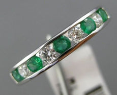 ESTATE .56CT DIAMOND & EMERALD 18K WHITE GOLD 3D SEMI ETERNITY ANNIVERSARY RING