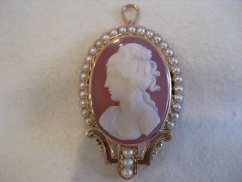 RARE ANTIQUE 14K ROSE GOLD CAMEO SEED PEARL PIN BROOCH PENDANT #1959