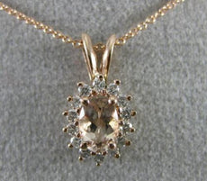 ESTATE .54CT DIAMOND & AAA MORGANITE 14KT ROSE GOLD 3D OVAL HALO FLOWER PENDANT