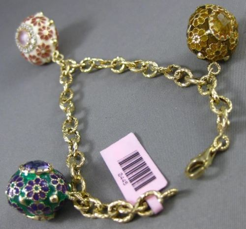 ANTIQUE .50CT DIAMOND & MULTI GEM 14KT YELLOW GOLD ENAMEL FLOWER CHARM BRACELET