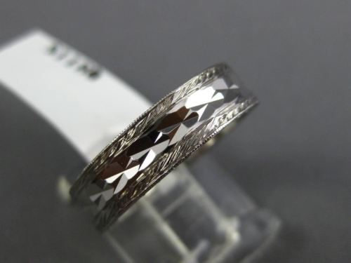 ESTATE 14KT WHITE GOLD FILIGREE MILGRAIN HAMMERED WEDDING ANNIVERSARY RING #1054