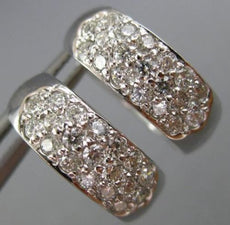 ESTATE WIDE .70CT DIAMOND 14KT WHITE GOLD 3D 3 ROW PAVE HUGGIE EARRINGS #26081