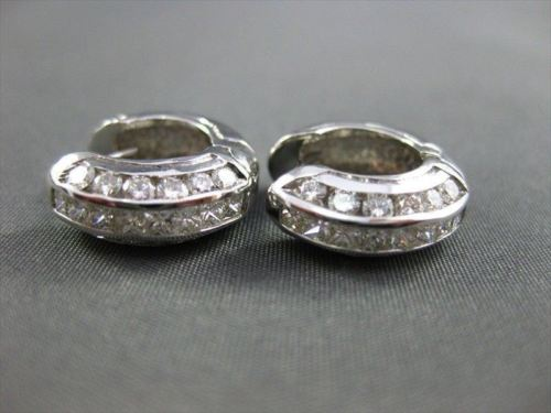 ESTATE WIDE 3D 1.30CT DIAMOND 14KT WHITE GOLD HUGGIE EARRINGS F/G VVS # 679