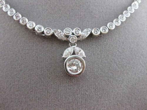 ANTIQUE 1.30CT DIAMOND 14KT W GOLD SOLITAIRE DROP FLOWER NECKLACE BEAUTIFUL 2793
