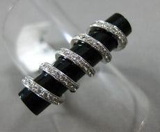 ESTATE .48CT ROUND DIAMOND & ONYX 14KT WHITE GOLD 3D HANDCRAFTED SWIRL FUN RING