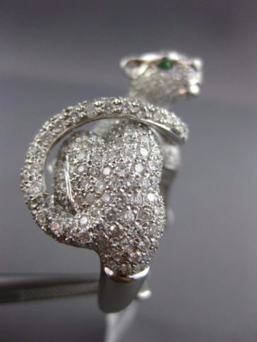 EXTRA LARGE 4.61CT DIAMOND & AAA TSAVORITE 18KT WHITE GOLD 3D TIGER PANTHER RING