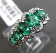 ESTATE 1.84CT DIAMOND & EMERALD 18KT WHITE GOLD 3D HALO WEDDING ANNIVERSARY RING