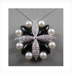 ANTIQUE 14KT DIAMONDS WITH BLACK ONYX & PEARLS FLOWER DESIGN WHITE GOLD PENDANT