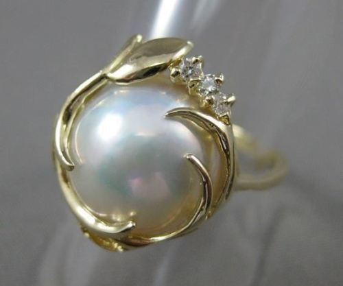 ESTATE .04CT DIAMOND 14KT YELLOW GOLD FLORAL AAA MOBE PEARL RING UNIQUE! #22682