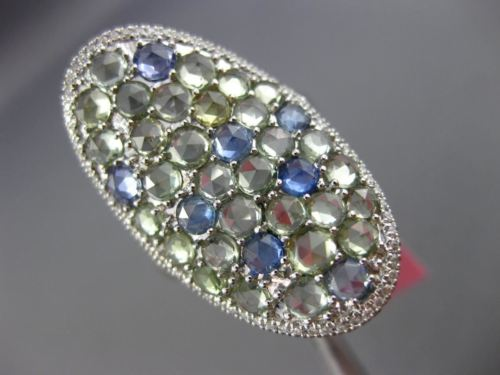 LARGE 4.21CT DIAMOND & AAA GREEN AMETHYST & BLUE TOPAZ 14KT WHITE GOLD OVAL RING