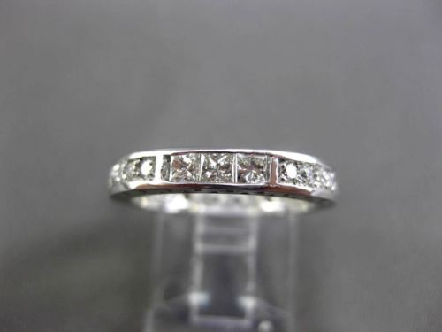 ESTATE ROUND & PRINCESS CUT DIAMOND 14KT WHITE GOLD ETERNITY RING BAND #17174