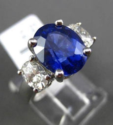 ESTATE 6.39CT DIAMOND & SAPPHIRE 18KT WHITE GOLD 3D OVAL 3 STONE ENGAGEMENT RING