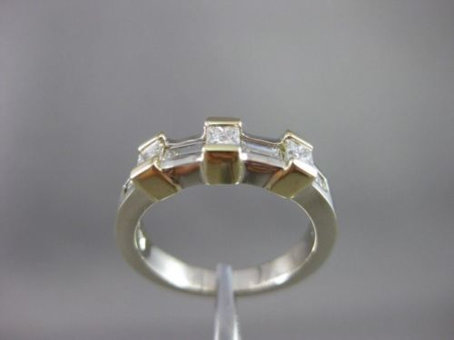 ESTATE WIDE .85CT DIAMOND 14KT PRINCESS CUT 2-TONE GOLD ANNIVERSARY RING #7007