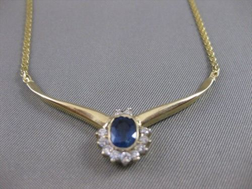 "ANTIQUE 1.10CTW DIAMOND SAPPHIRE 14K YELLOW GOLD NECKLACE 17.5"" INCH"