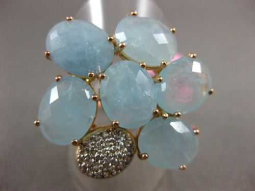 ESTATE LARGE 10.25CT DIAMOND & AAA BLUE QUARTZ 14KT YELLOW GOLD 3D FLOWER RING