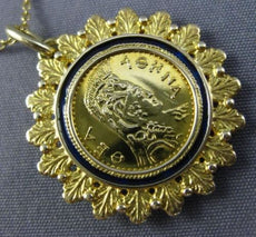 ESTATE BLUE ENAMEL 22KT & 14KT YELLOW GOLD HANDCRAFTED FLOWER ROMAN COIN PENDANT