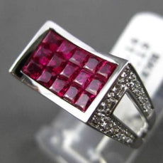 ESTATE LARGE 2.35CT DIAMOND & AAA RUBY 18KT WHITE GOLD 3D INVISIBLE MENS RING