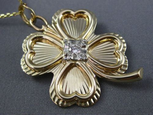 ANTIQUE .08CT OLD MINE DIAMOND 14K 2TONE GOLD 4 LEAF CLOVER PENDANT BROOCH 26188