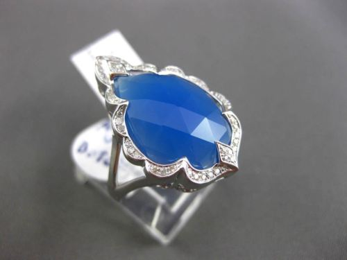 ANTIQUE .13CT DIAMOND & BOTSWANA BLUE AGATE 14KT WHITE GOLD 3D FILIGREE RING