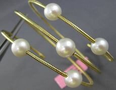 ESTATE WIDE AAA SOUTH SEA PEARL 14KT YELLOW GOLD 3 ROW FLEXIBLE BANGLE BRACELET