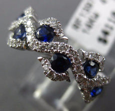 ESTATE WIDE 1.04CT DIAMOND & AAA SAPPHIRE 14KT WHITE GOLD WAVE ANNIVERSARY RING