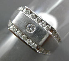 ESTATE WIDE .60CT ROUND DIAMOND 14KT WHITE GOLD 3D MATTE ETOILE SQUARE MENS RING