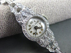 ANTIQUE 1.30CT OLD MINE DIAMOND FILIGREE PLATINUM SOLAR WATCH W HEART BAND 22177