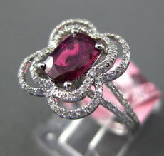 ESTATE WIDE 1.83CT DIAMOND & AAA RUBY 18KT WHITE GOLD 3D FLOWER ENGAGEMENT RING