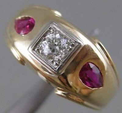 ANTIQUE 1CTW OLD EURO MINE EURO CUT DIAMOND RUBY 14K YELLOW GOLD BAND RING 20335